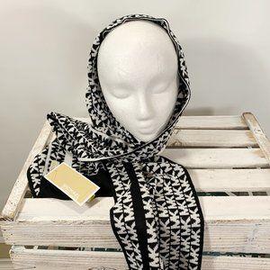 MICHAEL Michael Kors Scarf Black White Knit Signat